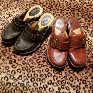 2 Pair of BORN Leather Clogs, Size 7M